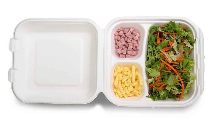 Bioplastik Lunchbox aus Bagasse für Imbisse und Take Away