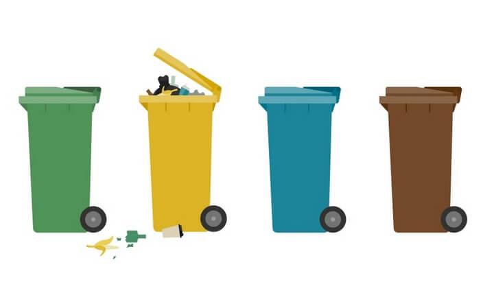 Grafik zur Mülltrennung: Grüne Tonne, gelbe Tonne quillt über, blaue Tonne, braune Tone